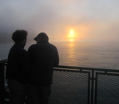 We hear you...that's a couple on the Washington State Ferry to Friday Harbor, one foggy day....photo by Ian Byington