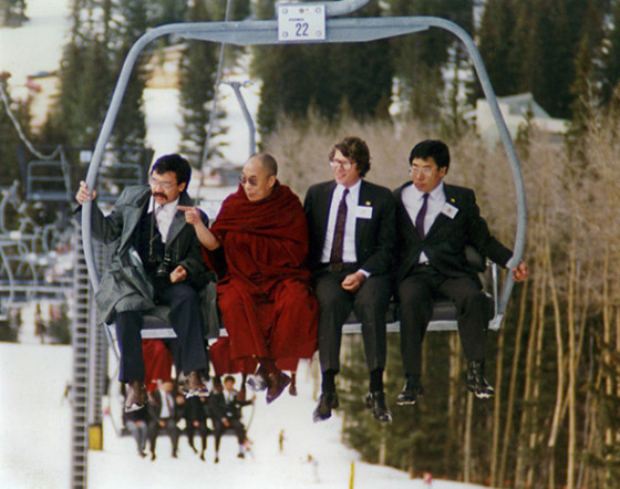 The Dalai Lama on a chairlift in the mountains of New Mexico, April 1991.  Photo by Bob Shaw.