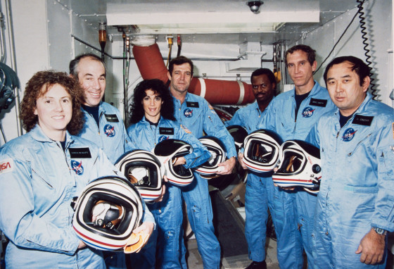 The NASA family lost seven of its own on the morning of Jan. 28, 1986, when a booster engine failed, causing the Shuttle Challenger to break apart just 73 seconds after launch. In this photo from Jan. 9, 1986, the Challenger crew takes a break during countdown training at NASA's Kennedy Space Center. Left to right are Teacher-in-Space payload specialist Sharon Christa McAuliffe; payload specialist Gregory Jarvis; and astronauts Judith A. Resnik, mission specialist; Francis R. (Dick) Scobee, mission commander; Ronald E. McNair, mission specialist; Mike J. Smith, pilot; and Ellison S. Onizuka, mission specialist. Photo courtesy of NASA.