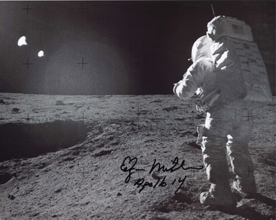 Dr. Mitchell was the sixth person to walk on the moon. His post-NASA career included the founding of INS (Institute of Noetic Sciences). Photo courtesy of NASA.